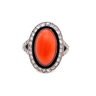 Platinum Coral Enamel Diamond Ring
