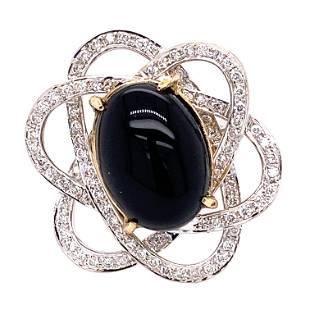 18k Diamond Black Jade Flower Ring