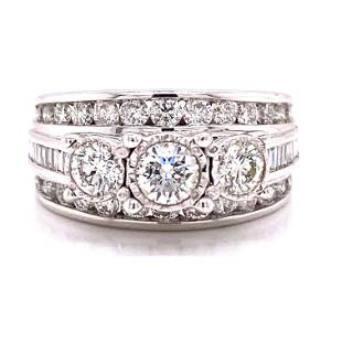 14k 3 Row Diamond Engagement Ring