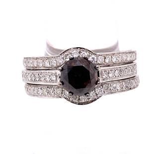 18k Orangey Brown Fancy Diamond Engagement Set Ring