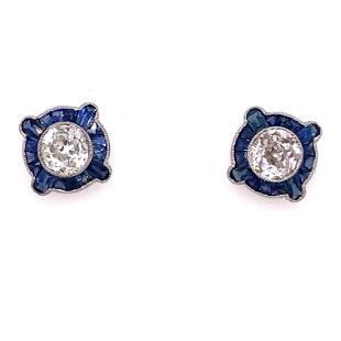 Platinum Sapphire Diamond Stud Earrings