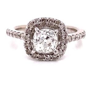 18k Art Deco Old Mine Diamond Engagement Ring