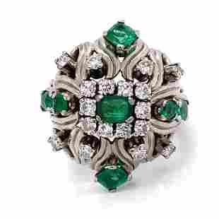 Platinum Retro Diamond Emerald Ring