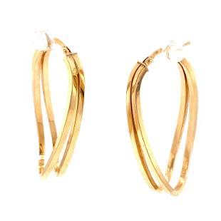 14k Long Wavy Hoop Earrings