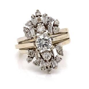 Art Deco 14k 2 in 1 Diamond Engagement Ring