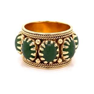 Victorian Indian 14k Eternity Jade Green Ring