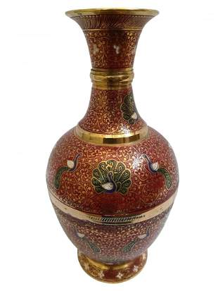 Stout pure brass vase with heavy detailing