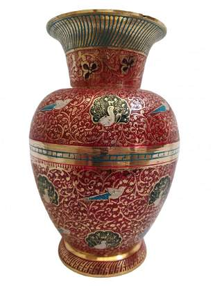 Round and Royal- Pure Brass Vase with vivacious design