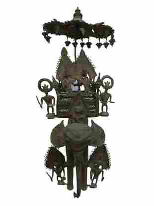 Vintage Handmade Dhokra Lost Wax Statue Elephant Rider