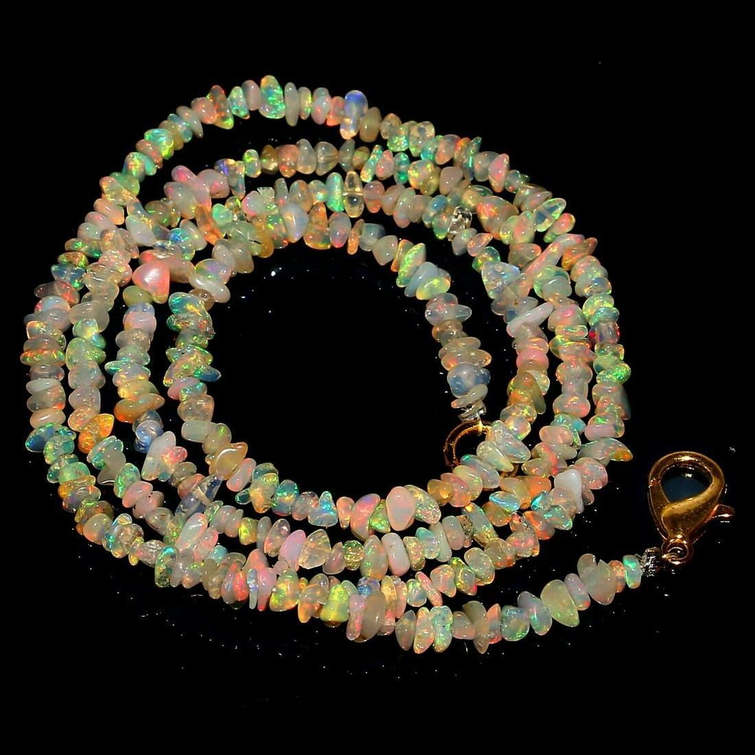 Natural Ethiopian Welo Fire Opal Necklace 3-2 mm 21.00