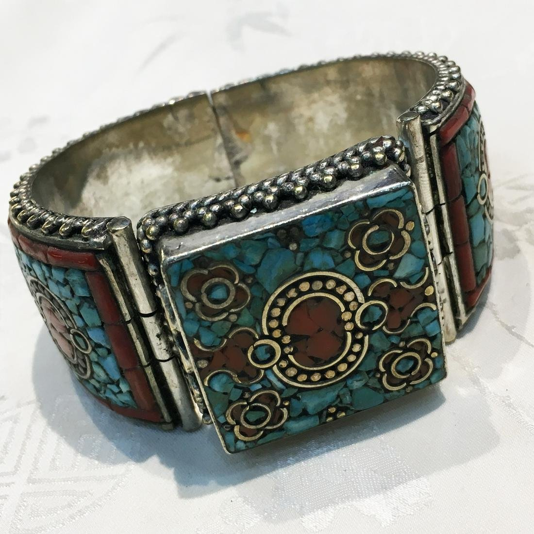 Gypsy Tibetan Designer Turquoise & Coral Bangle