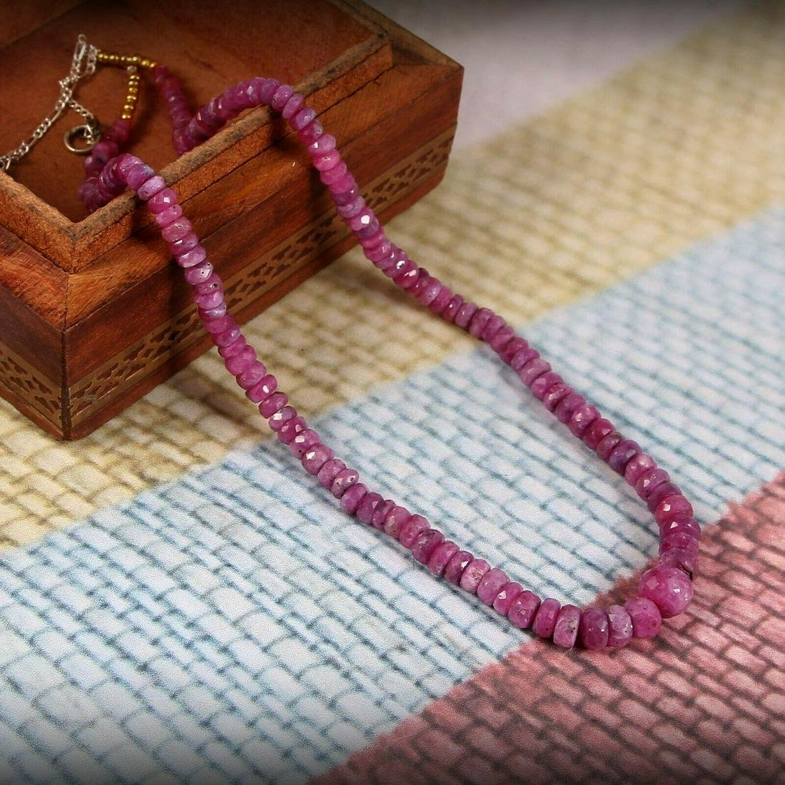 Natural Ruby Necklace Sterling Silver Chain 18 Inch
