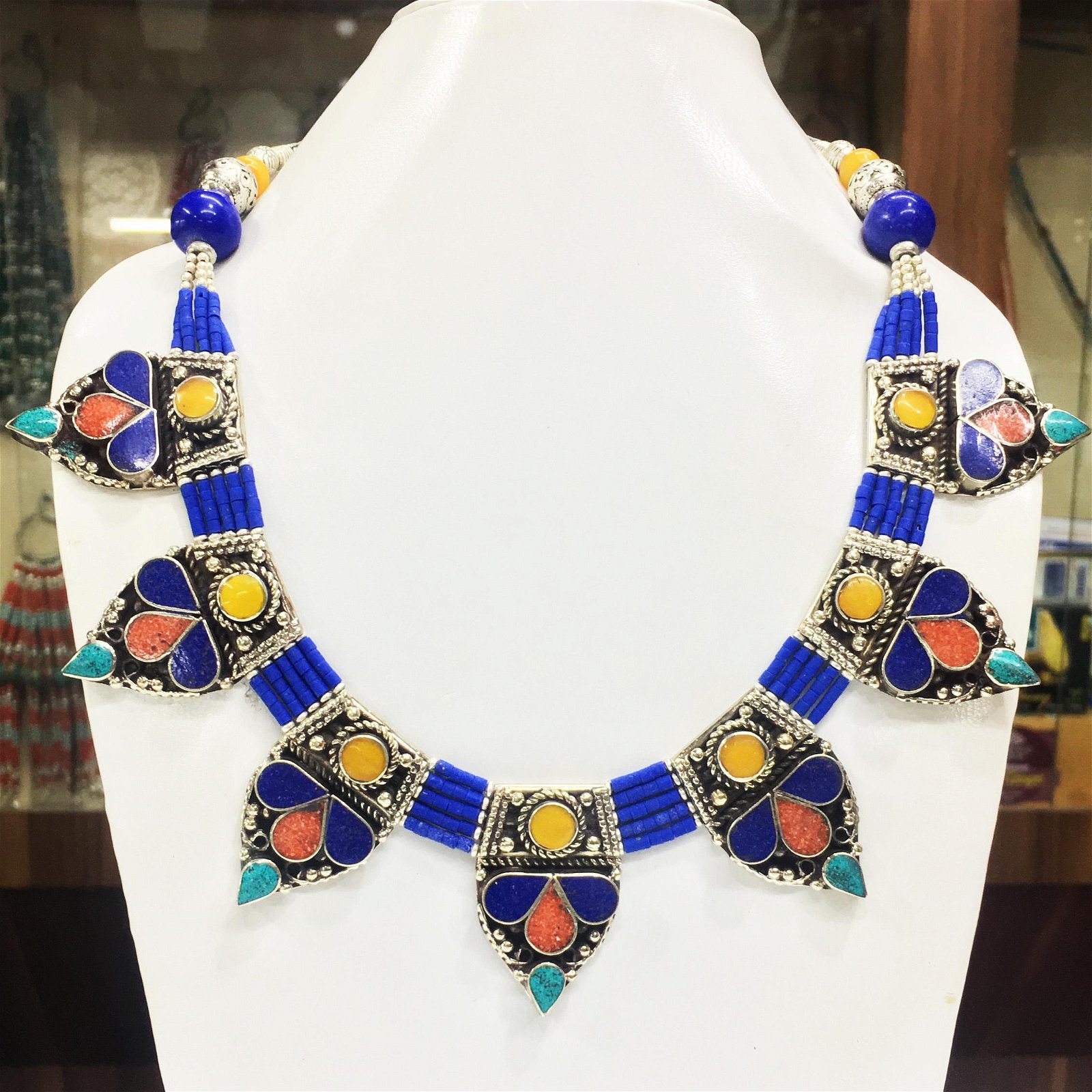 Natural Lapis & Amber Handmade Chokar Necklace