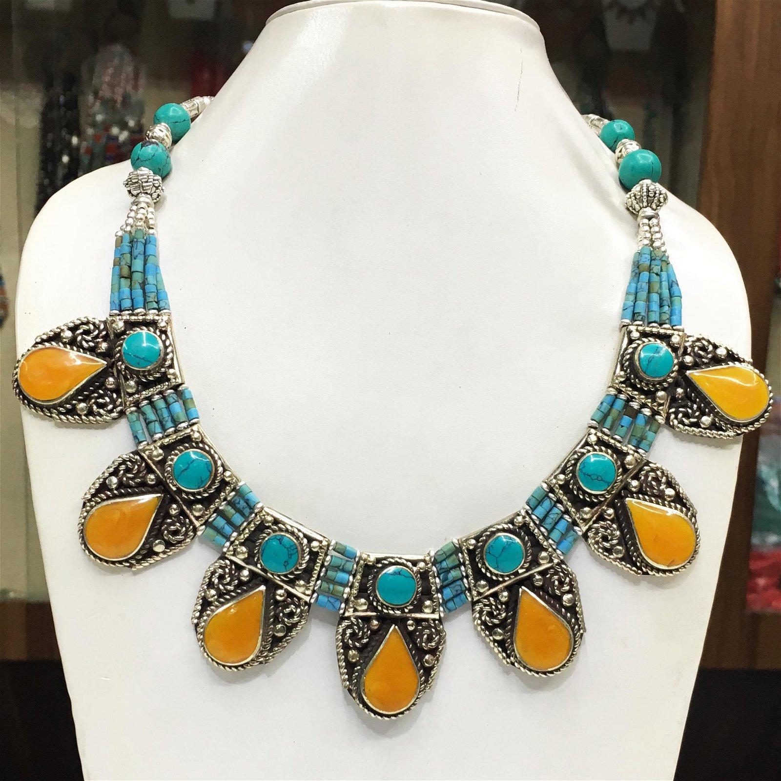 Tibetan Turquoise & Amber Handmade Ethnic Necklace