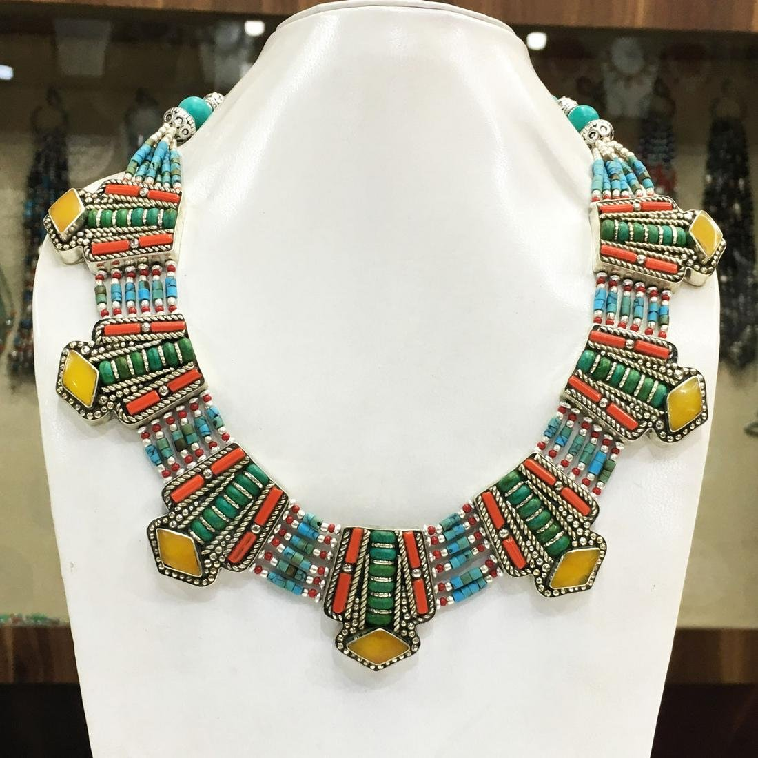 Tibetan Natural Turquoise & Amber Handmade Necklace