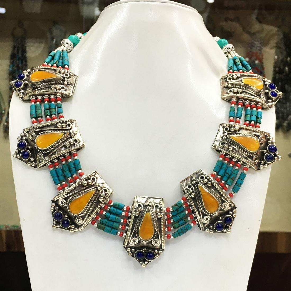 Tibetan Turquoise & Amber Handmade Chokar Necklace