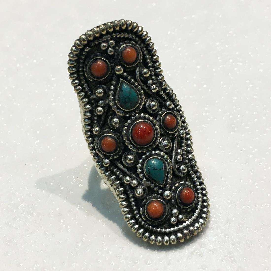 Tibetan Turquoise Hand Carved Antique Old Ring - 9.5MM