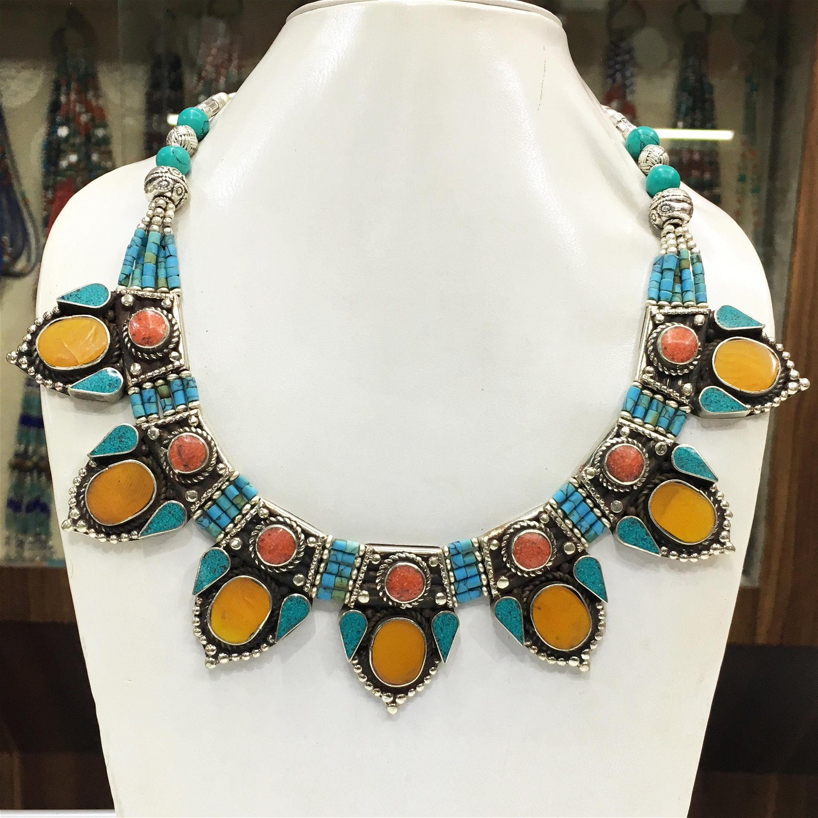 Tibetan Natural Turquoise & Amber Handmade Necklace