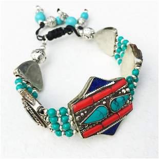 Tibetan Turquoise & Amber Handmade Statement Bracelet