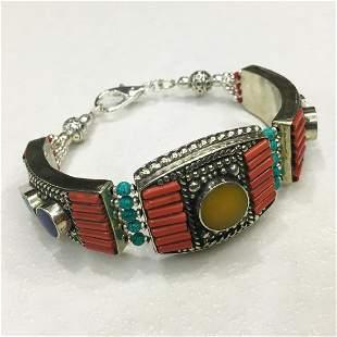 Tibetan Coral & Amber Handmade Statement Bracelet