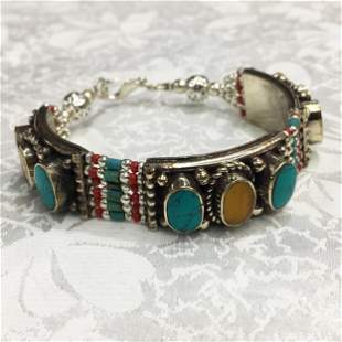 Tibetan Turquoise & Amber Handmade Ethnic Bracelet