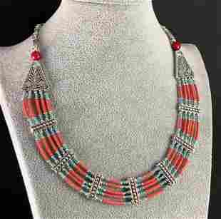 Tibetan Coral Handmade Chokar Beaded Necklace