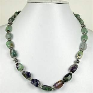 Amethyst & Prehnite Handmade Metal Beaded Necklace