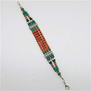 Tibetan Old Taiwani Coral Handmade Beaded Bracelet