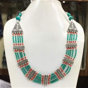 Tibetan Turquoise Handmade Beaded Necklace