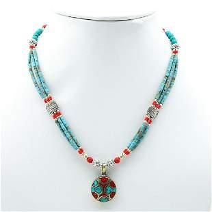 Tibetan Turquoise Handmade Beaded Pendant Necklace