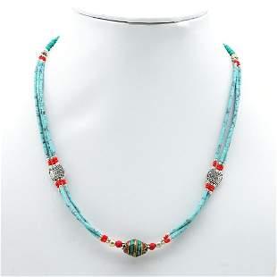 Tibetan Turquoise & Coral Handmade Beaded Necklace
