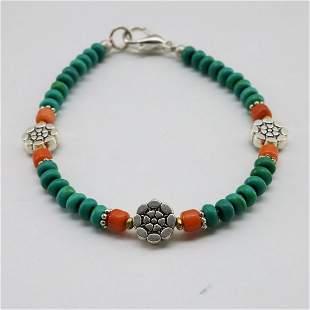 Tibetan Turquoise & Coral Handmade Beaded Bracelet