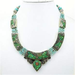 Tibetan Turquoise Handmade Boho Necklace