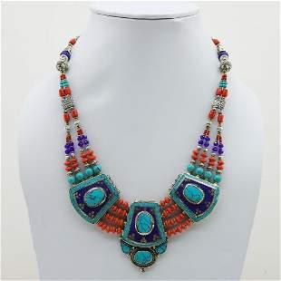 Tibetan Turquoise & Coral Handmade Boho Necklace