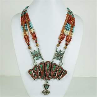 Tibetan Turquoise & Coral Handmade Vintage Boho