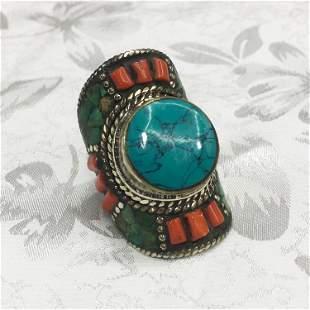 Tibetan Handmade Turquoise Chokar Ring - 9MM