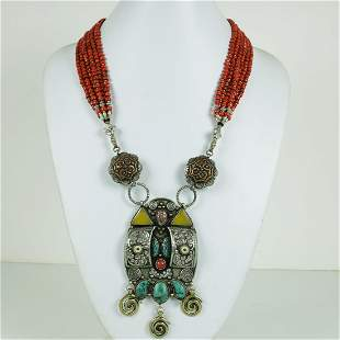 Tibetan Old Lapis & Coral Hand Carved Antique Necklace