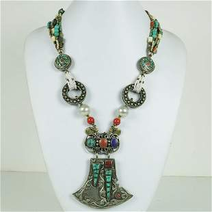 Tibetan Turquoise & Coral Hand Carved Ethnic Necklace