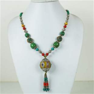 Natural Amber & Turquoise Handmade Beaded Necklace