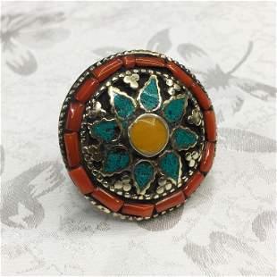 Tibetan Turquoise & Coral Chokar Ethnic Ring - 9MM