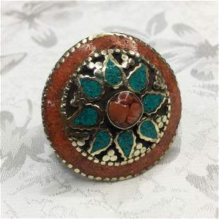 Tibetan Turquoise & Coral Hand Carved Ring - 10.5 MM