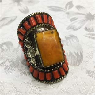Tibetan Amber & Coral Hand Carved Ring - 10 MM