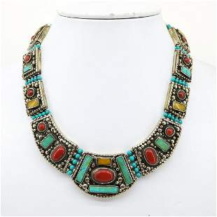 Tibetan Turquoise & Coral Hand Carved Old Necklace