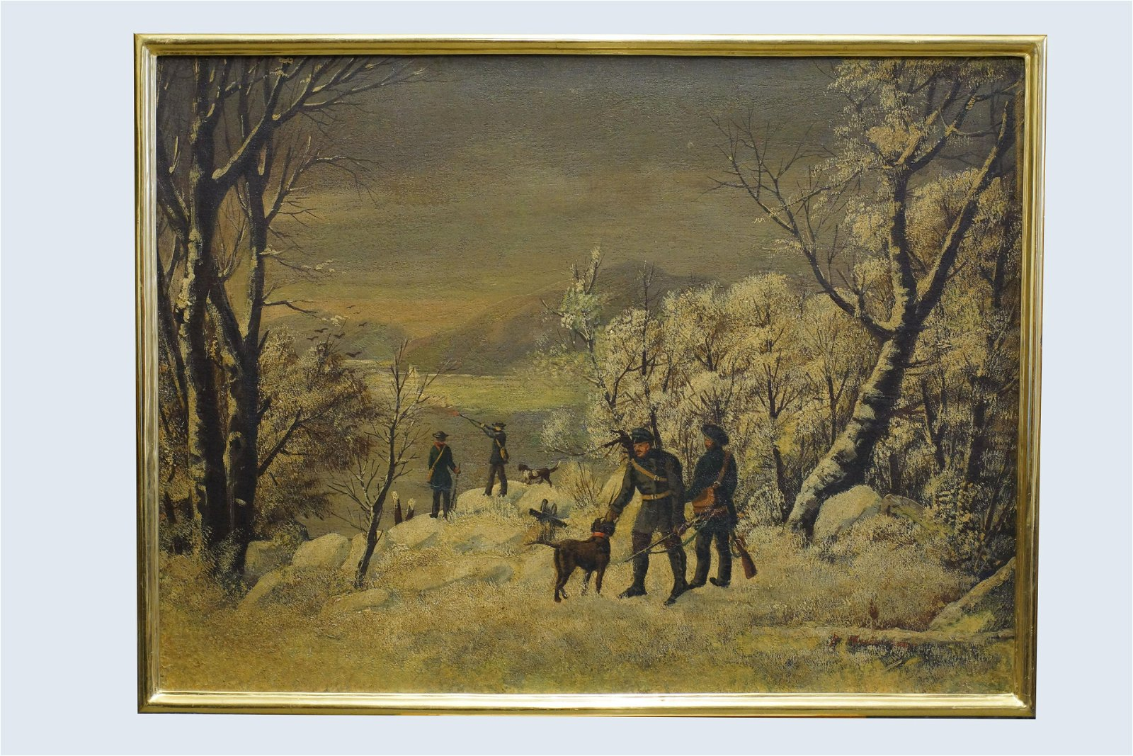 Antique Russian Painting Oil On Canvas Hunting