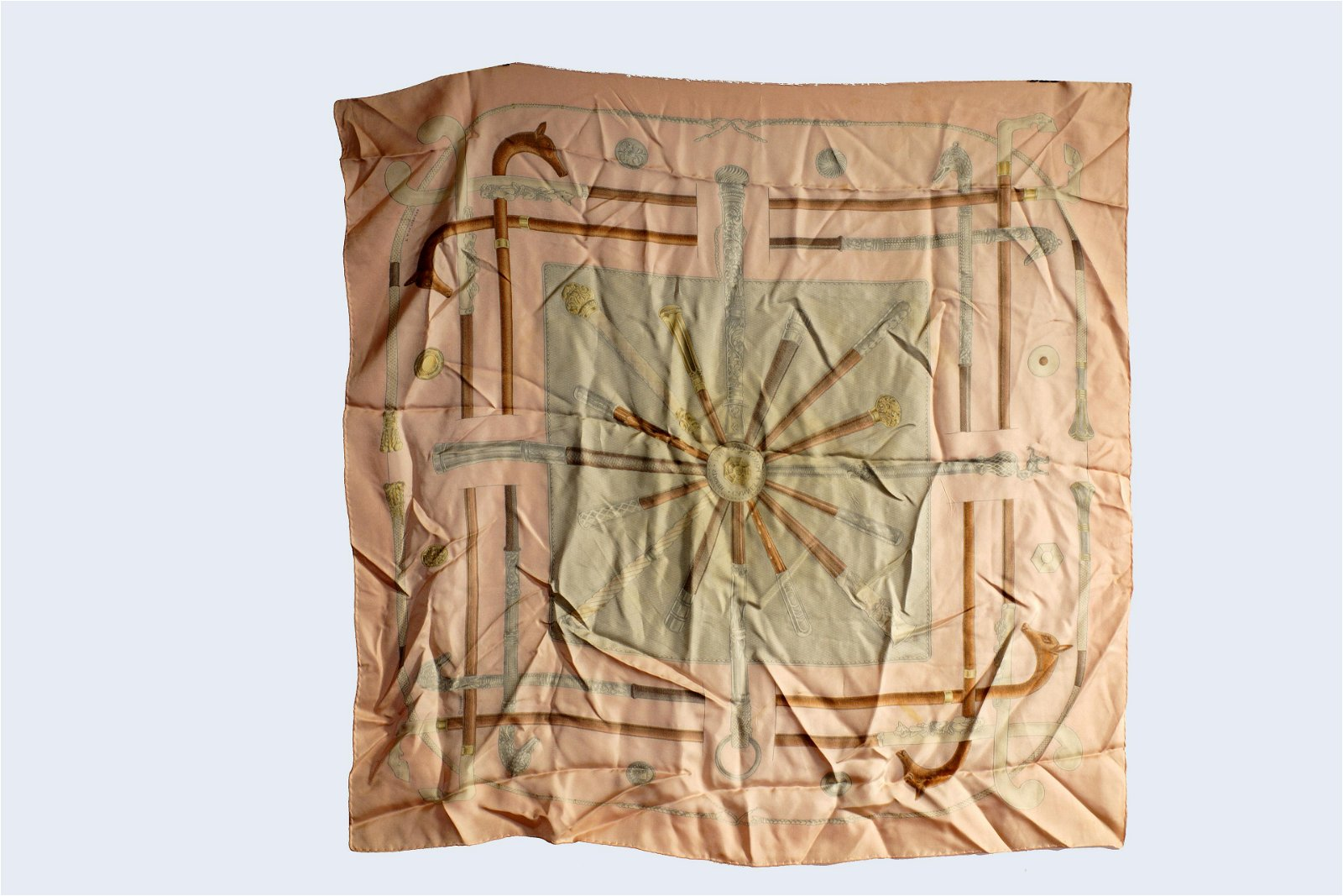 Hermes Pink Cannes Pommeaux Silk Scarf