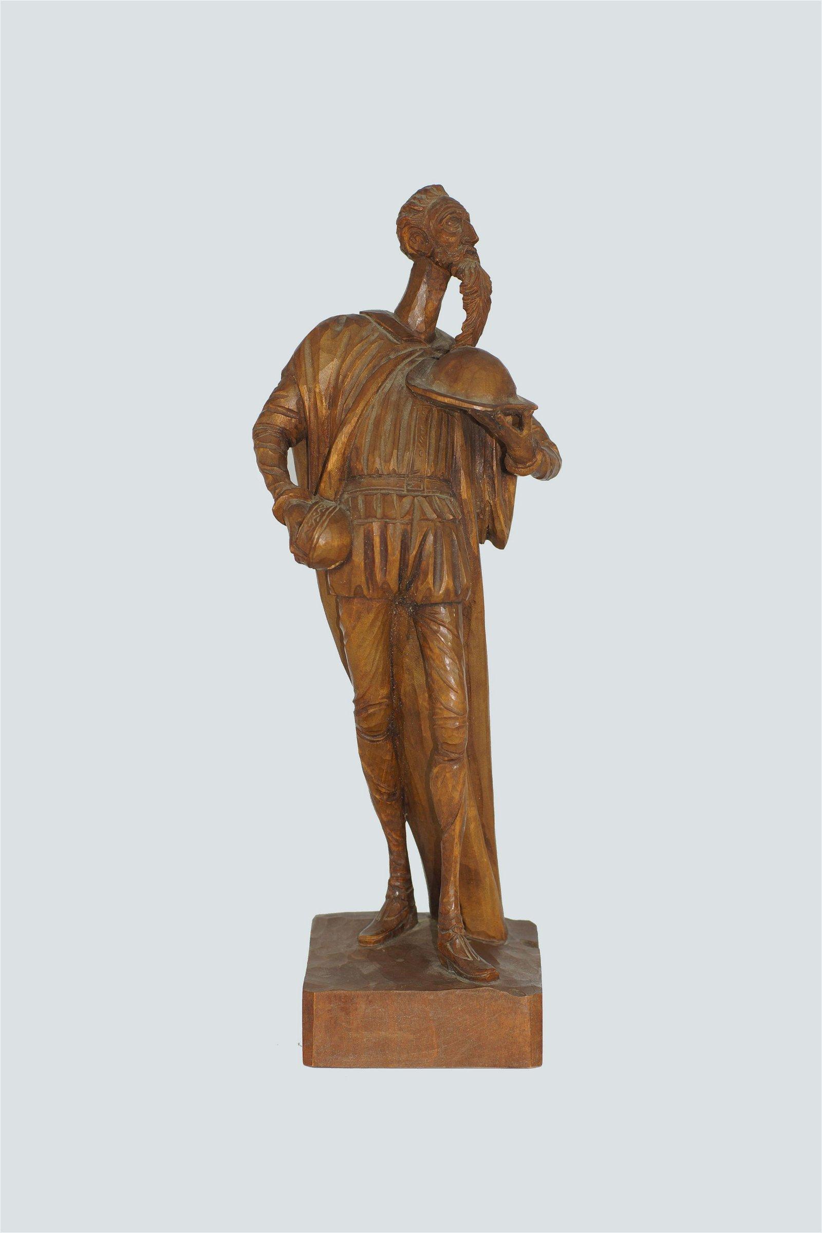 Antique Carved wood Don Quixote Sculpture