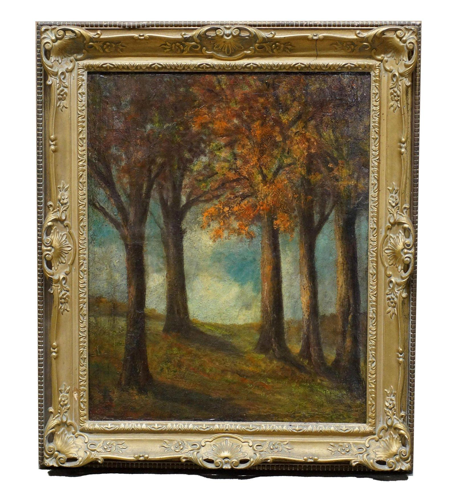 Antique Landscape Painting Oil on Canvas