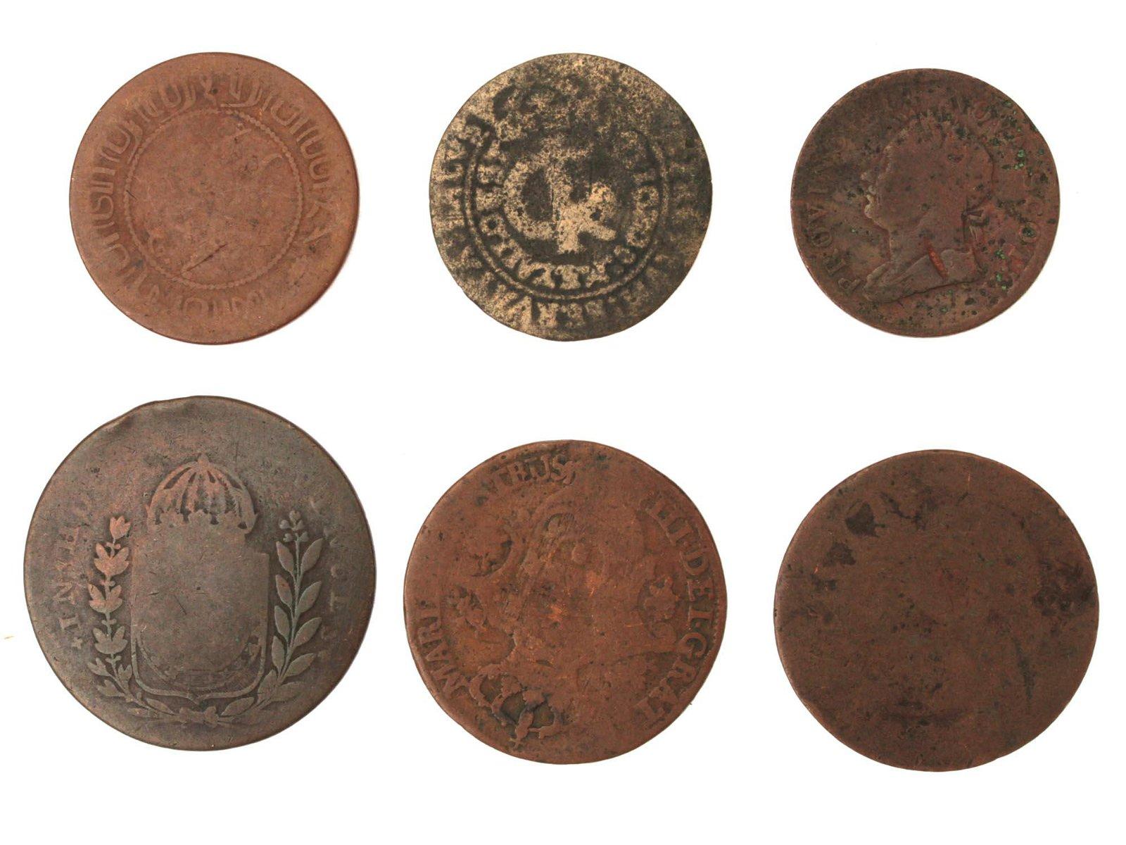 A SET OF ANTIQUE EUROPEAN 17-19TH CENTURY COINS