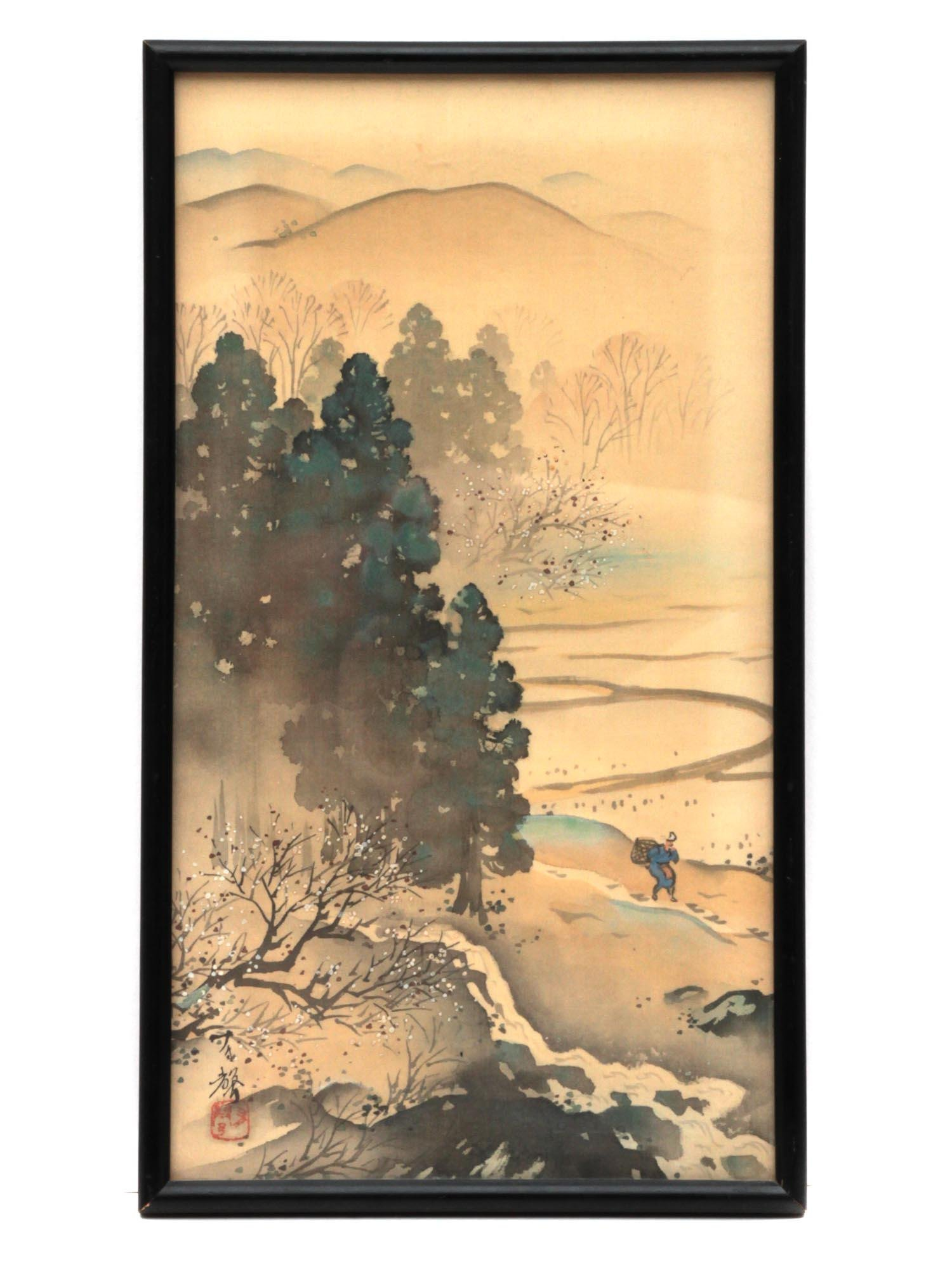 AN ORIGINAL VINTAGE JAPANESE MOUNTAIN LANDSCAPE