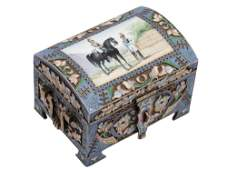 A RUSSIAN GILTSILVER AND ENAMEL CHEST AS A TRUNK